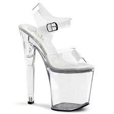 "Pleaser Xtreme-808 Ladies Clear Platform Hi Heel 8"" Ankle Strap Shoes Sandal"