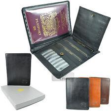 London Leather mercancías cubierta de pasaporte de viaje Cartera Id crédito Billete De Lujo
