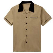 Mens Brown Vintage Bowling Shirt Rockabilly Clothing Hip Hop Shirts