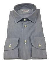 BRANCACCIO camisa de hombre rayas azul/blanco 100%algodón DOBLE TRENZADO slim
