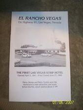 El Rancho Vegas First Hotel Las Vegas Strip Information Pamphlet