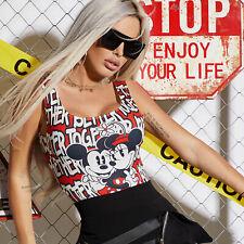 By Alina Mexton Damen Body Bodie Bodysuit Badeanzug T-Shirt Trägertop Rot XS-M