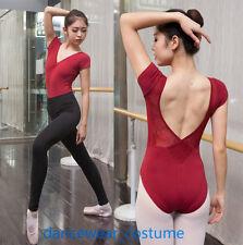 Women Short Sleeve Ballet Tight Gymnastics Bodysuit Dance Bloch Leotard Unitards