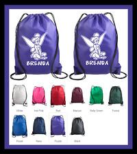 TINKER BELL CUSTOM DRAWSTRING BACKPACK SCHOOL GYM SPORTS TRAVEL BAG W/ NAME