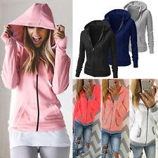 Womens Plain Fleece Zip Hoodie Ladies Swetshirt Jumper Jacket Hood Plus Size