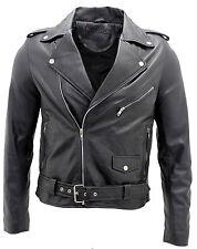 Para Hombre Chaqueta estilo informal estilo retro Brando Negro 100% de Napa de cuero