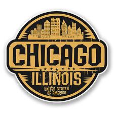 2 X 10cm CHICAGO ILLINOIS STATI UNITI Adesivo Vinile Decalcomania Viaggi Bagagli Laptop # 6058