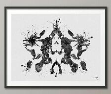 Rorschach Inkblot Test Card 10 BW Watercolor Print Psychology Psychiatry-1284