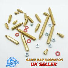 Brass Male M4 Spacer Thread Pillar + Nuts + Washers Brass PCB Stud Hex