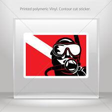 Sticker Decals Flag Diver Scuba Helmet Motorbike Bike Garage st5 ZZ858
