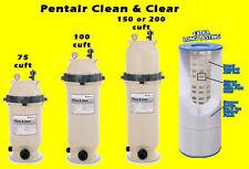 Pentair Pool Filter Cartridge Clean Clear 75 100 150 200 sqft swim NEW Complete