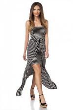 Kleid Minikleid Bandeau Schleppe asymmetrisch schwarz/weiß 36 38 40 Softcups