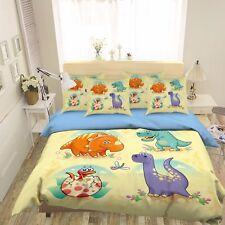3D Cartoon Cute Dinosaur 4 Bed Pillowcases Quilt Duvet Cover Set Single Queen CA