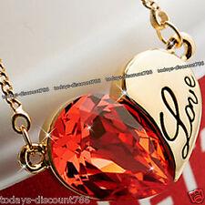 Corazón Amor Collar naranja cristal rojo Esposa Hija sister UK Regalo De Navidad