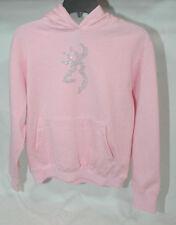 Browning Buckmark Youth Light Pink Bling Rhinestone Hoodie Sweatshirt Sweater T1