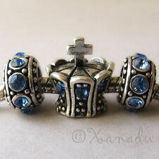 Blue Princess Crown Charm And Birthstone Beads For European Charm Bracelets