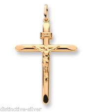 375 9ct Giallo Oro zecchino Crocifisso Croce pendente a & 16in o 18in Catena
