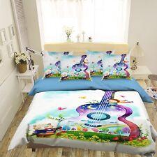3D Guitar Bear 5 Bed Pillowcases Quilt Duvet Cover Set Single Queen King AU Cobb