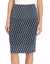 Karen Kane 2L88513 Tropicali Blue Geo Print Stretch Jersey Pencil Skirt - $69