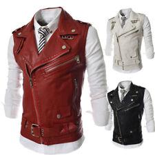 New Fashion Mens Vests Waistcoats Faux Leather Slim Fit Zipper Lapel WV3038