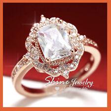 9K ROSE GOLD GF VICTORIAN VINTAGE LAB DIAMOND SOLID ENGAGEMENT WEDDING RING GIFT