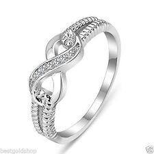Infinity Cz Zirconia CrissCross Ring Anti-Tarnish Real Solid 925 Sterling Silver