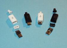 USB micro tipo B conector soldadura male solder Plug 5 pins negro blanco DIY