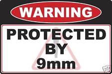 9mm Gun warning decal sticker
