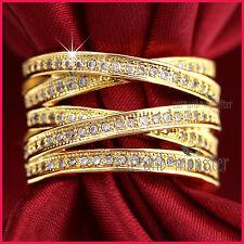 9CT YELLOW GOLD GF LADIES KISS CROSS WEDDING DRESS COCKTAIL CRYSTALS BAND RING