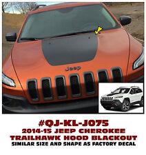 QJ-J075 2014-15 JEEP CHEROKEE - TRAILHAWK BLACKOUT HOOD DECAL - MATT BLACK - 3M