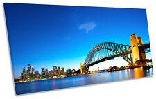 Sydney Harbour Skyline City Blue PANORAMIC BOX FRAME CANVAS ART Picture