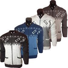 Mens Full Zip Cardigan Casual Grandad Style Diamond Print Sizes: S- 2XL Zipper