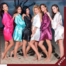 Women Plain Silk Satin Robes Bridal Wedding Bridesmaid Bride Gown)bride robe)hot