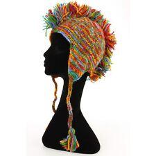 Mohawk Punk Sombrero Lana Festival Earflap Beanie Forrado Polar Knit Rainbow espacio Dye