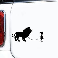 Girl Walking A Lion Car Funny Sticker Laptop Truck Wall Window Auto Vinyl Decal