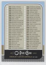 2011-12 O-Pee-Chee #499 Checklist Hockey Card