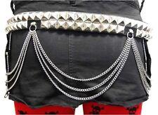 Ledergürtel Nietengürtel - 2 Reihen Pyramidennieten Kette Studded Leather Belt