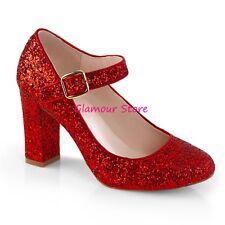 Sexy DECOLTE' GLITTER tacco 9 dal 35 al 42 ROSSO cinturino scarpe Mary Jane