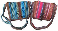 Comercio Justo NEPALÍ gheri Textil & Buffalo Cuero mediano Bandolera