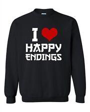 I Love Happy Endings Massage Therapy Funny Humor DT Novelty Crewneck Sweatshirt