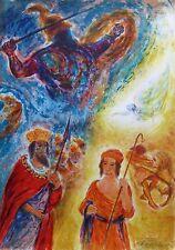 "IRA MOSKOWITZ ""DAVID & GOLIATH"" Hand Signed Original Ltd Edition Lithograph Art"
