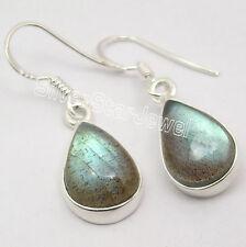 925 Silver LABRADORITE WONDERFUL Dangle Earrings 3.3CM