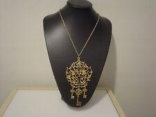 "Gigantic keyhole pendant w/ 3 dangle skeleton keys 24"" long chain"