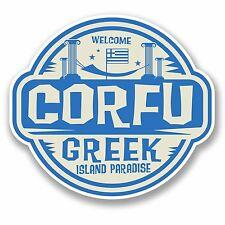 2 x 10cm Corfu Greece Vinyl Sticker Decal Laptop Travel Luggage Greek Fun #9670