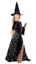 niña Negro Largo Moon Disfraz de Bruja Halloween & Gorro NUEVO