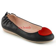 BALLERINE NERE pieghevoli CUORE dal 35 al 41 tacco elasticizzato  scarpe GLAMOUR