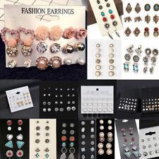 Lots 12 Pairs Fashion Rhinestone Crystal Pearl Earrings Women Ear Stud Jewelry