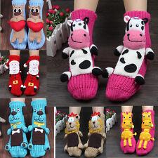 Women 3D Cute Cow Dog Animal Christmas Slipper Socks Xmas Winter Wool knit Socks
