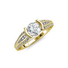 tw in 14K Yellow Gold Jp:87779 Diamond Half Bezel Engagement Ring 1.50 ct