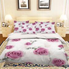 3D Feathers Rose Bed Pillowcases Quilt Duvet Cover Set Single Queen King Size AU